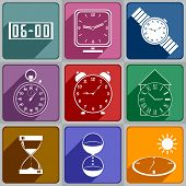 stock photo of sundial  - Set of different watch icons - JPG
