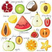 stock photo of tropical food  - 15 bright fruit pieces - JPG