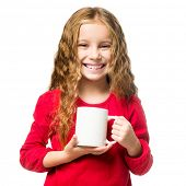 little smiling girl in a white chef hat cup, isolated