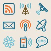Communication web icons, vintage series