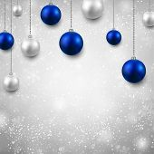 Winter grey background with silver and blue christmas balls. Vector illustration.