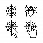 Spider web networking icons