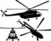 Helicopter silhouette. Mi 8. Vector illustration