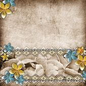Beautiful Wedding Background With  Horizontal Roses Banner And Lace