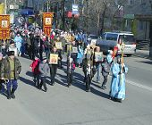 Svobodny, Russia - Okt 11. 2013 :parishioners Go In Procession
