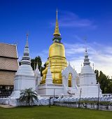 Gold Pagoda At Wat Suan Dok In Chiang Mai, Thailand