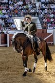 Spanish bullfighter on horseback Diego Ventura bullfighting on horseback removing its hat to offer t