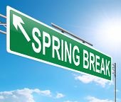 picture of spring break  - Illustration depicting a sign with a spring break concept - JPG