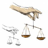 Hands holding scales, vector illustration