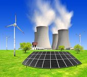 nuclear power plant solar panel and wind turbines