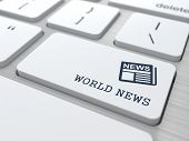 World News Concept on white Keyboard Button.