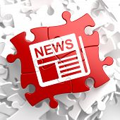 stock photo of mass media  - Newspaper Icon with News Word on Red Puzzle - JPG
