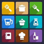 Kitchen flat icons set