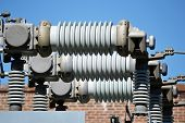 stock photo of substation  - A view of a high voltage substation with switches and insulators - JPG
