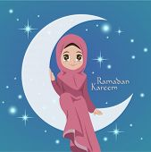 Vector Illustration of Muslim Girl Sitting On The Moon. Translation: Ramadan Kareen - May Generosity