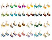 Vector Pack of twenty-four pairs of shoes for ladies.