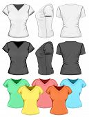 Vector. Women's v-neck t-shirt design template (front, back and side view).
