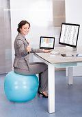 Woman Sitting On Pilates Ball Using Computer