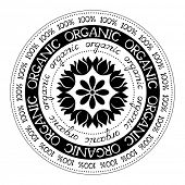 100% organic stamp label, vector