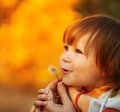 Beautiful child blowing away dandelion flower in sunset light