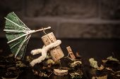 Wine Cork Figures, Concept Stormy Autumn Weather