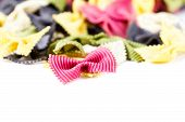 Fresh Italian Pasta  Isolated On White Background Close Up.  Raw Bow Tie Pasta  With Variety Of Flav