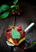 pic of cherry pie  - homemade cherry pie with sweet cherry berries - JPG
