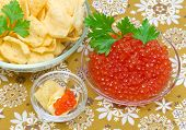 Red Salmon Caviar And Potato Chips.