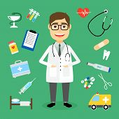 picture of syringe  - Smiling happy male doctor with glasses surrounded by medical icons with an ambulance  stethoscope  first aid kit  hypodermic  syringe  test  tubes  chart  heartbeat  pulse  heart  pills  tablets - JPG