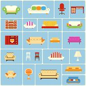 Постер, плакат: Set of furniture icons
