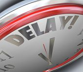 stock photo of outdated  - Delay word clock running late missed deadline - JPG