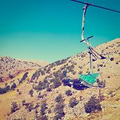stock photo of golan-heights  - Ski Lift in the Golan Heights Photo Filter - JPG