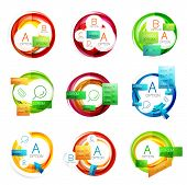 Vector swirl mega set - web design circle boxes for web promotion