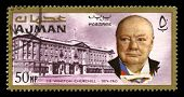 Vintage Winston Churchill Postage Stamp From Ajman