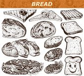 Collection of cut pieces of bread and sandwiches isolated on white background , hand-drawn illustration.