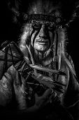 pic of indian chief  - American Indian chief with big feather headdress - JPG