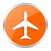 plane orange glossy icon