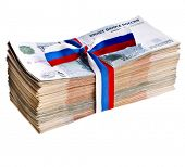 Heap of One Million Banknotes Rubles of the Russian Federation wrapping Ribbon flag tape - isolated on white background