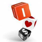 3D Dice Illustration With Word I Love Dollars