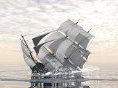 Old ship sinking - 3D render
