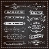 Vintage Design Elements - Banners, Frames And Ribbons, Chalkboard Style Vector poster