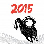 stock photo of goat horns  - Chinese symbol vector goat 2015 year illustration image design - JPG