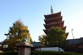 Ornate Five-storey Pagoda At Sensoji Temple