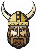stock photo of viking  - viking head with horned helmet - JPG