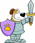 image of armor suit  - Cartoon illustration of a dog wearing a suit of armor - JPG