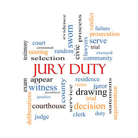 foto of jury  - Jury Duty Word Cloud Concept with great terms such as appear serve juror and more - JPG