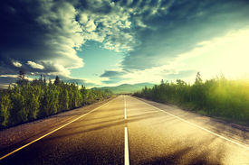 image of cloudy  - road in mountains - JPG