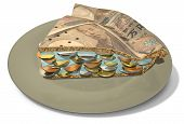 picture of japanese coin  - A concept of a sliced section of a regular baked pie with a crust made out of Japanese Yen bank notes filled with a jam filling with coins on an isolated background - JPG