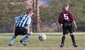 A Pair Of Youth Soccer Players Compete