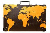 Old suitcase globetrotter with a world map.